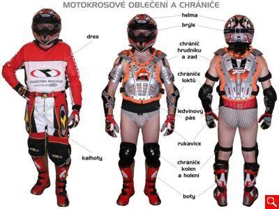 motokrosové oblečení a chrániče